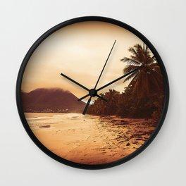 Sunset Sandy Beach Wall Clock