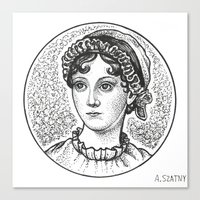 jane austen Canvas Prints featuring Jane Austen by Alyssa Szatny