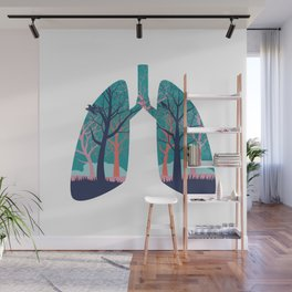 Human lungs with abstract forest inside illustration Wall Mural