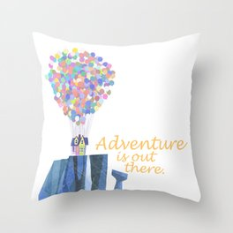 adventure is out there.. cursive Throw Pillow
