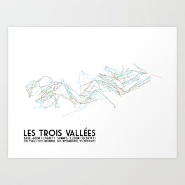 Les Trois Vallees, Savoie, France - North America Colors - Minimalist Trail Art Art Print