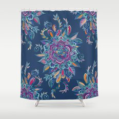Deep Summer - Watercolor Floral Medallion Shower Curtain
