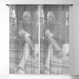 Albert Einstein in Fuzzy Slippers Classic Black and White Satirical Photography - Photographs Sheer Curtain
