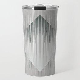 Line art, trippy in gray green metal color Travel Mug