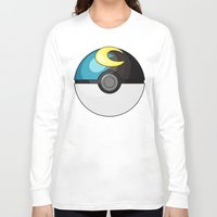 pokeball Long Sleeve T-shirts featuring Moon Pokeball by Amandazzling