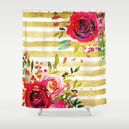 Flowers & Stripes 2 Shower Curtain