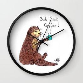 Otter & coffee! Wall Clock