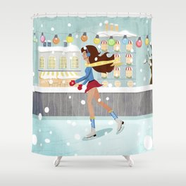 Ice Skating Girl Shower Curtain