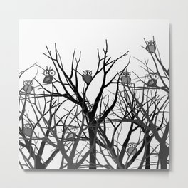 Dry trees trunk with owls Metal Print