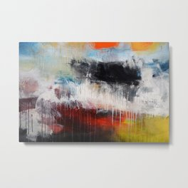 Abstract Digital Art from Original Painting Blue Red  Metal Print