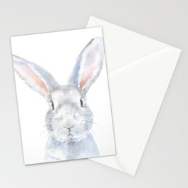 Gray Bunny Rabbit Watercolor Painting Stationery Cards