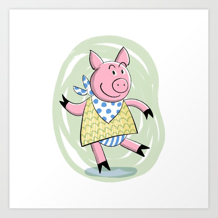 Dancing Piggy Art Print