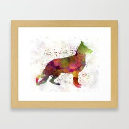 German Sherpherd dog 01 watercolor Framed Art Print