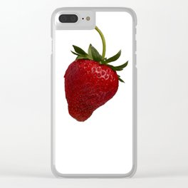 Strawberry on White Background Clear iPhone Case