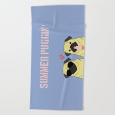 Summer Puggin Beach Towel