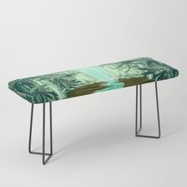 Fluorescent Waterfall on Surreal Bamboo Forest Bench