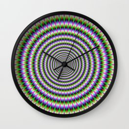 Brain-Buster in Blue Green Pink and Orange Wall Clock