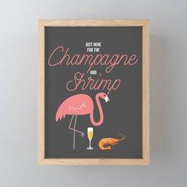 Just Here For The Champagne & Shrimp Pink Flamingo Framed Mini Art Print