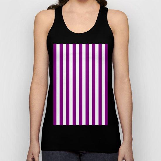 Vertical Stripes (Purple/White) Unisex Tank Top