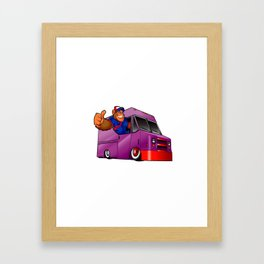 Cartoon illustration of a gorilla driving a van Framed Art Print