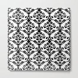 Cresta Damask Pattern Black on White Metal Print