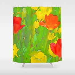 Etched Tulips 5 Shower Curtain
