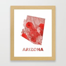 Arizona map outline Red Pink streaked wash drawing Framed Art Print