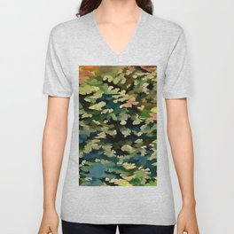 Foliage Abstract In Green, Peach and Phthalo Blue Unisex V-Neck
