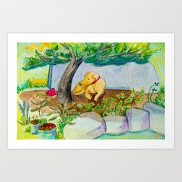 Watercolor dog resting Art Print