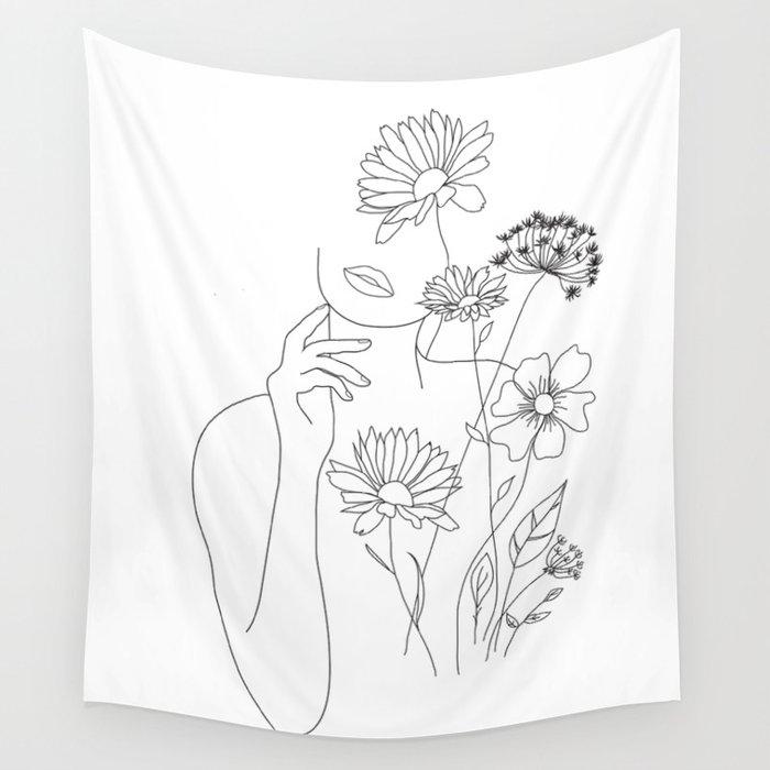 Minimal Line Art Woman with Flowers III Wandbehang