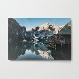 Sunrise at lake Braies in the Italian Dolomites Metal Print
