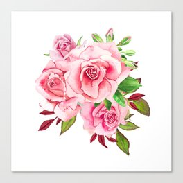 Flower bouquet with roses watercolor Canvas Print