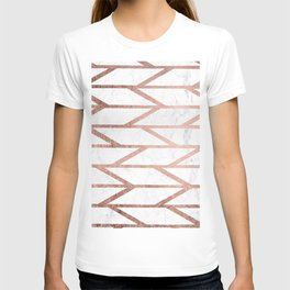 Modern faux rose gold herringbone chevron pattern T-shirt