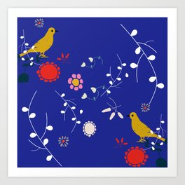 Bird and blossom electric blue Art Print