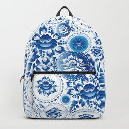 Silhouette of a beautiful horse's head with blue flowers Backpack