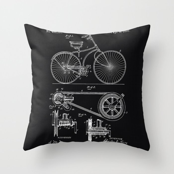 Vintage Bicycle patent illustration 1890 Throw Pillow