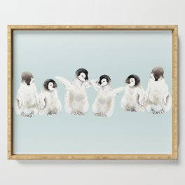 Playful Penguin Chicks - Watercolor Painting Serving Tray