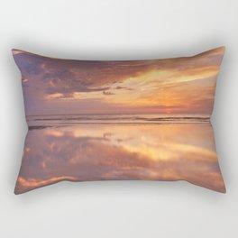 Sunset reflections on the beach, Texel island, The Netherlands Rectangular Pillow