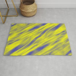 A pastel cluster of yellow bodies on a light background. Rug