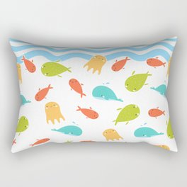 Cute Sea Life, Colorful Fishes and Waves Design Pattern, Cute Kids Art Rectangular Pillow