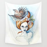 ginger Wall Tapestries featuring Ginger Wren by April Alayne