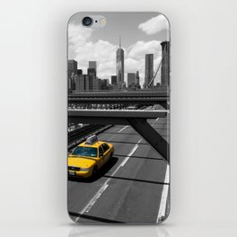 Yellow Cab on Brooklyn Bridge iPhone Skin