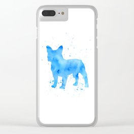 Frenchie splatter Clear iPhone Case