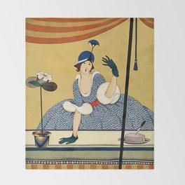 "George Wolfe Plank Art Deco Design ""Hat Shop"" Throw Blanket"