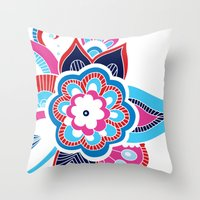 henna Throw Pillows featuring Henna Colourful by nicky9