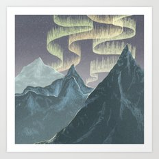 Mountains and Northern Lights Art Print
