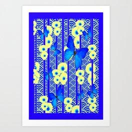 Blue Butterflies Cream-Blue Asia Style Modern Art Art Print