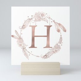 Letter H Rose Gold Pink Initial Monogram Mini Art Print
