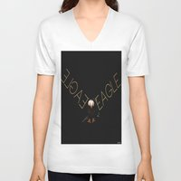 eagle V-neck T-shirts featuring Eagle by Joe Ganech