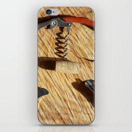 corkscrew with wine corks iPhone Skin